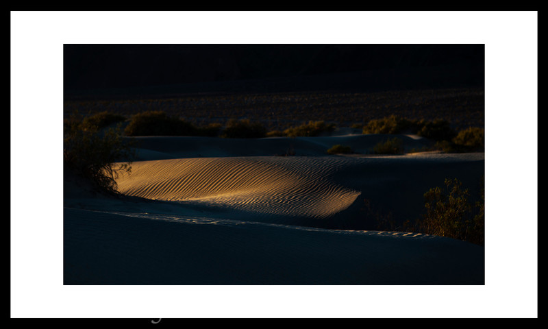 Early Morning sun hits the sand dunes.  It is a good idea to get to where you are going before the sun comes up.