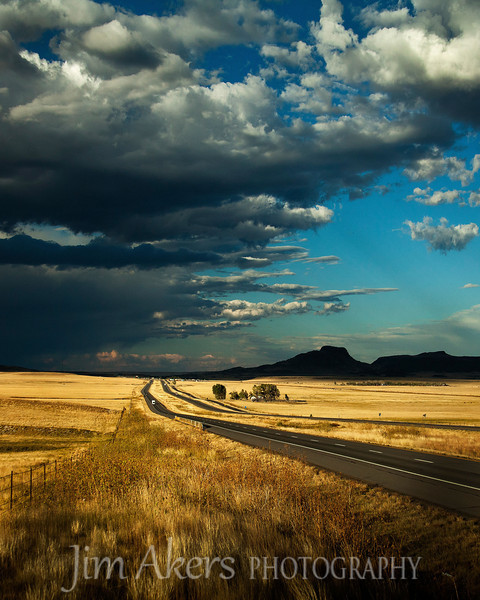 Racing with the storm. Interstate 25 between Taos, New Mexico and Los Vegas, New Mexico.  This Photo received a merit award in the 2011 Professional Photographers of California competition. It also took a 2nd place in the 2010 fall competion at the Santa Clarita Valley Photography Association.  If you wish to purchase this superb landscape photo you can email me at jimaica_33@msn.com for details or just hit the contact button at the top of the page and shoot me an email.