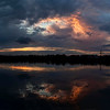 Sunset on the Parramatta River at Melrose Park in North-West Sydney. 2 photo panorama.
