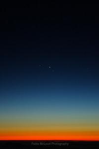 A trio of astronomical friends - Venus, Jupiter, and Saturn.