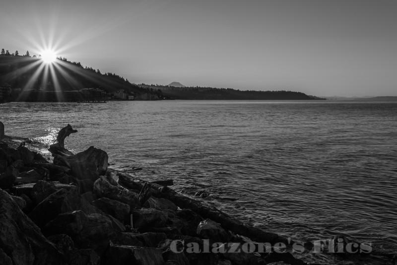 Alki Point Sunrise- bw