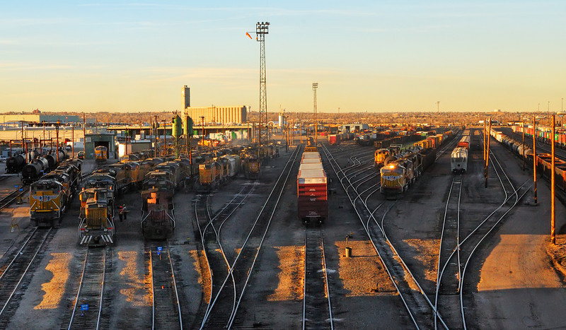 Last Light on a Denver Railyard