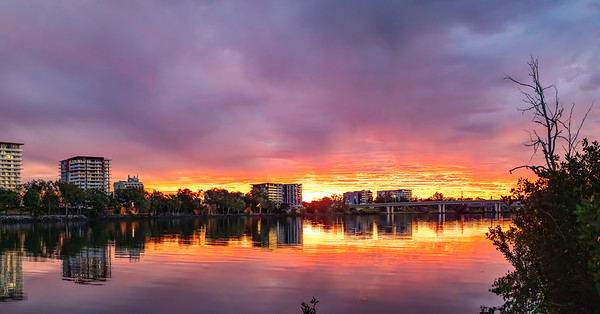 Sunset over the Rockhampton CBD and Fitzroy River 27th January 2020