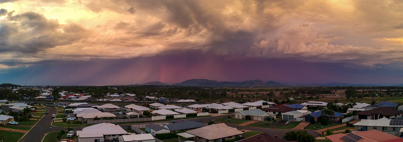Storm over the Berseker Ranges as seen from Gracemere.  Taken with DJI Spark.