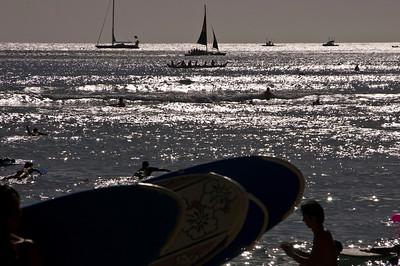 Waikiki  Silhouettes at Sunset  Waikiki, O'ahu, Hawai'i