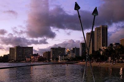 Waikiki Skyline at sunset  Waikiki, O'ahu, Hawai'i