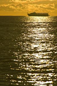 Waikiki  Silhouette of Cruise ship at sunset  Waikiki, O'ahu, Hawai'i