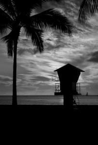 Silhouette of a Lifeguard Tower  Waikiki, Hawai'i