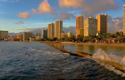 Skyline Waikiki Skyline at dusk, taken from the main pier  Waikiki, O'ahu, Hawai'i