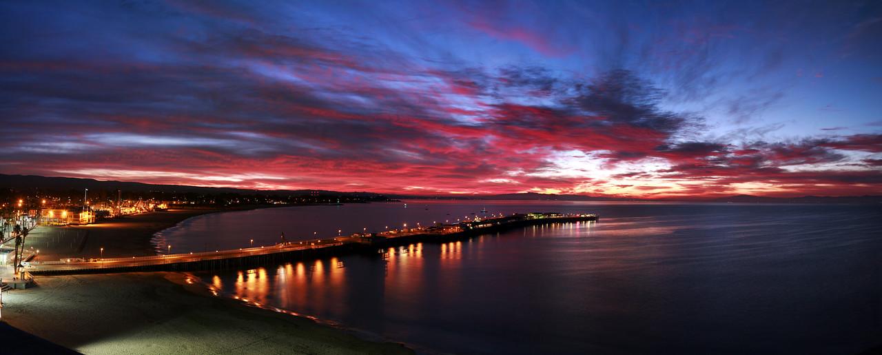 Sunrise over looking the Santa Cruz Wharf