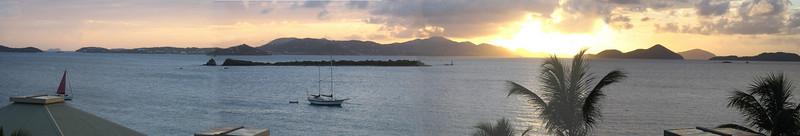 St thomas sunset panoramic with cruise ship