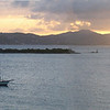 St thomas sunset panoramic with cruise ship