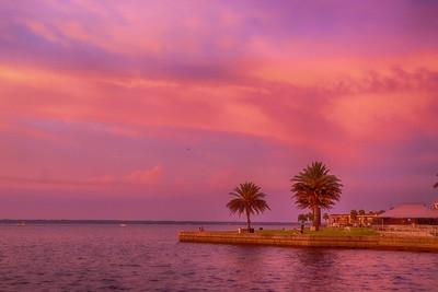 Sunset  afterglow over Lake Monroe, FL