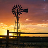 Wild West Sunset With Windmill