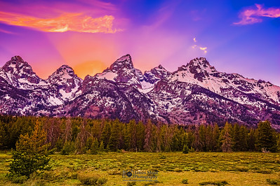 """""""Fred's View,"""" the Cathedral Group at Sunset, Grand Teton National Park, Wyoming"""