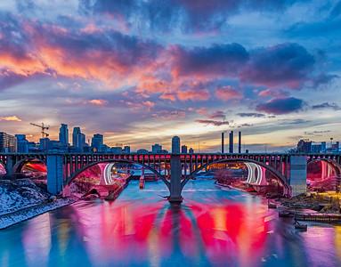 Pink Sky Pink Bridge