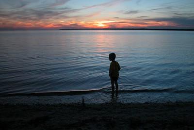 Wading at Sunset