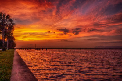 Sunset over Sanford River Walk, FL