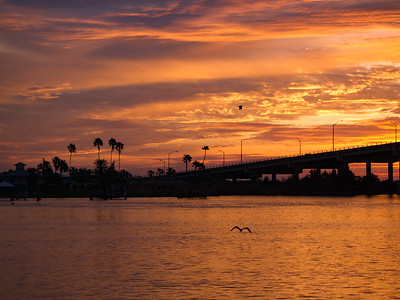 Sunrise over South Causeway at New Smyrna Beach, Florida