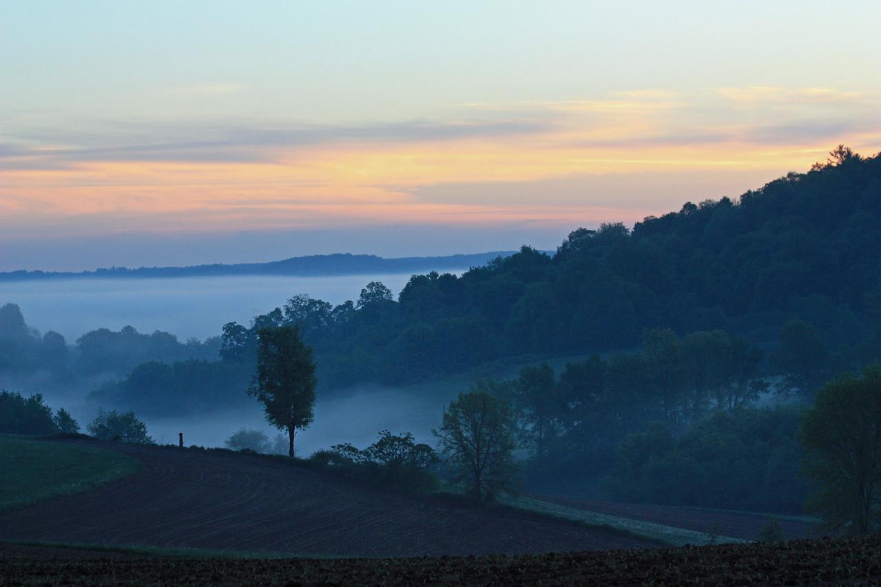 5:22 AM sunrise and fog