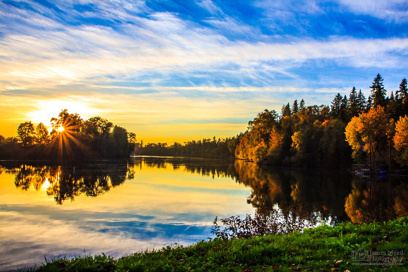 Autumn Sunset Over The Willamette River