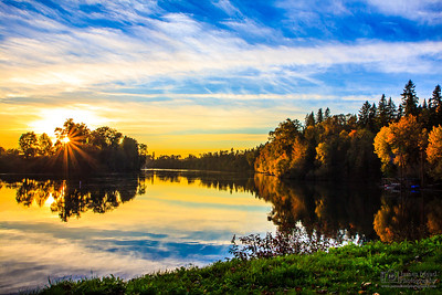 """Willamette Autumn,"" Autumn Sunset Over The Willamette River, Willamette River, Oregon"