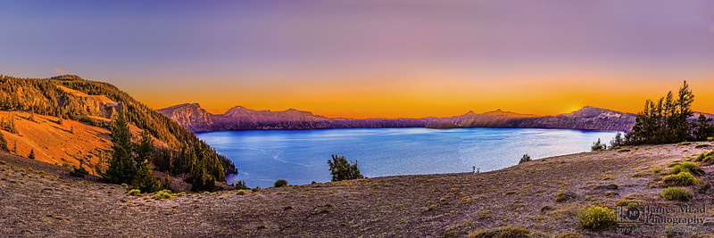 """""""Calm Day's End,"""" Crater Lake and Grotto Cove at Sunset, Crater Lake, Crater Lake National Park, Oregon"""