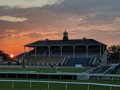Doncaster Racecocourse Clock tower Stand at sunset
