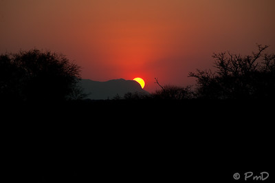 Sunset over the Drakensburg mountains.  Taken on the Kapama game reserve in Kruger, South Africa.