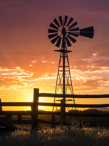 Northwest Colorado Sunset With Windmill