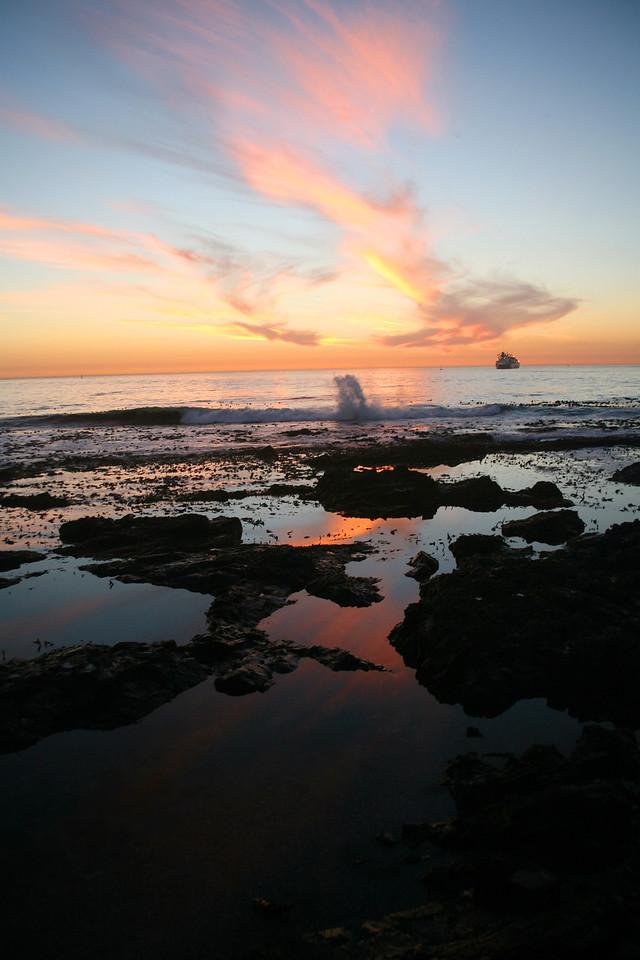 sunset, evening, twilight, sea, ocean, nature, landscape, seascape, clouds
