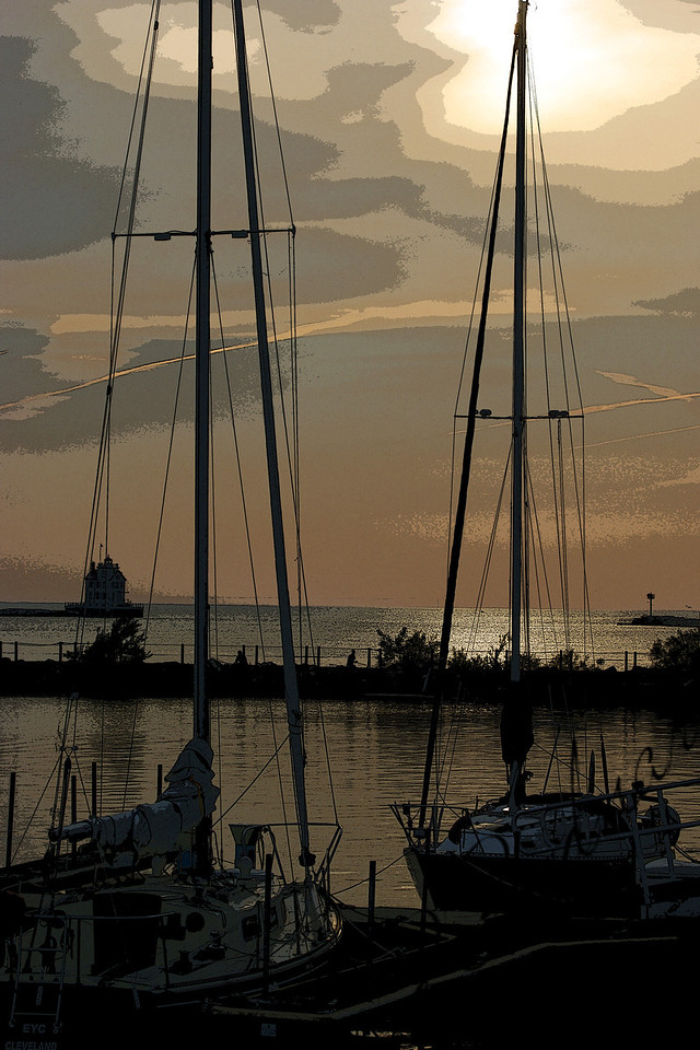 Photo By Bob Bodnar......................A Creative photo of Early Evening Sunset at Spitzer lakeside Marina, Lorain Ohio