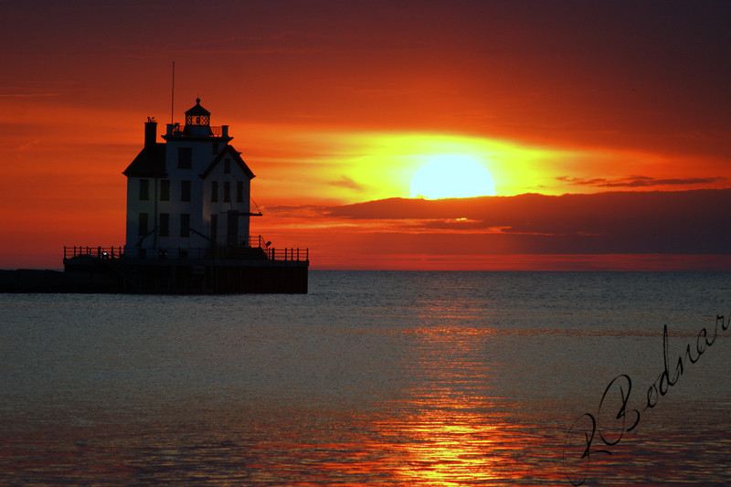 Photo By Robert Bodnar...................................Lorain lighthouse and Sunset