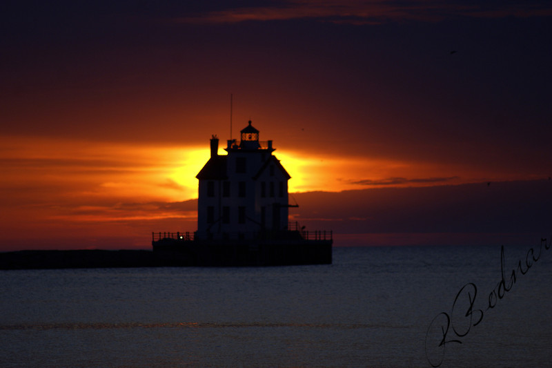 Photo By Robert Bodnar......................................Lorain Lighthouse at Sunset