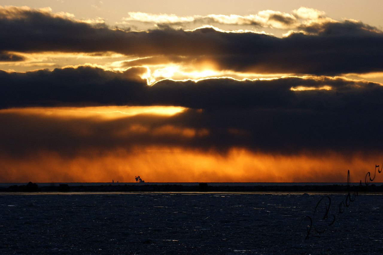 Photo By Robert Bodnar...............................Lake Erie Sunset in February