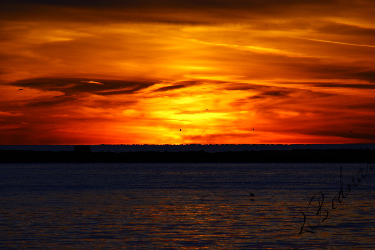 Photo By Robert Bodnar.............................October Sunset on Lake Erie    (Great Sky)