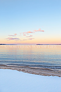 Winter sunset over Power Island and West Grand Traverse Bay: Traverse City, Michigan