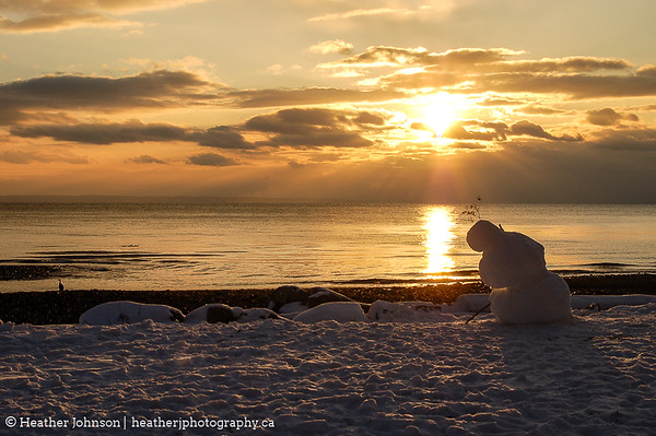 Sunset Snowman
