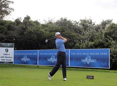 EAST LONDON, SOUTH AFRICA - JANUARY 05, Retief Goosen tees off to start the Race to Dubai during day 1 of the Africa Open at East London Golf Club on January 05, 2012 on East London, South Africa Photo by Carl Fourie