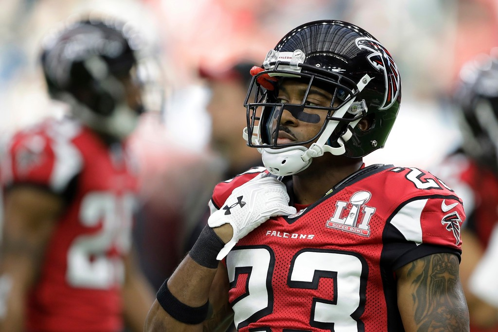 . Atlanta Falcons\' Robert Alford is seen on the field, before the NFL Super Bowl 51 football game against the Atlanta Falcons, Sunday, Feb. 5, 2017, in Houston. (AP Photo/Darron Cummings)