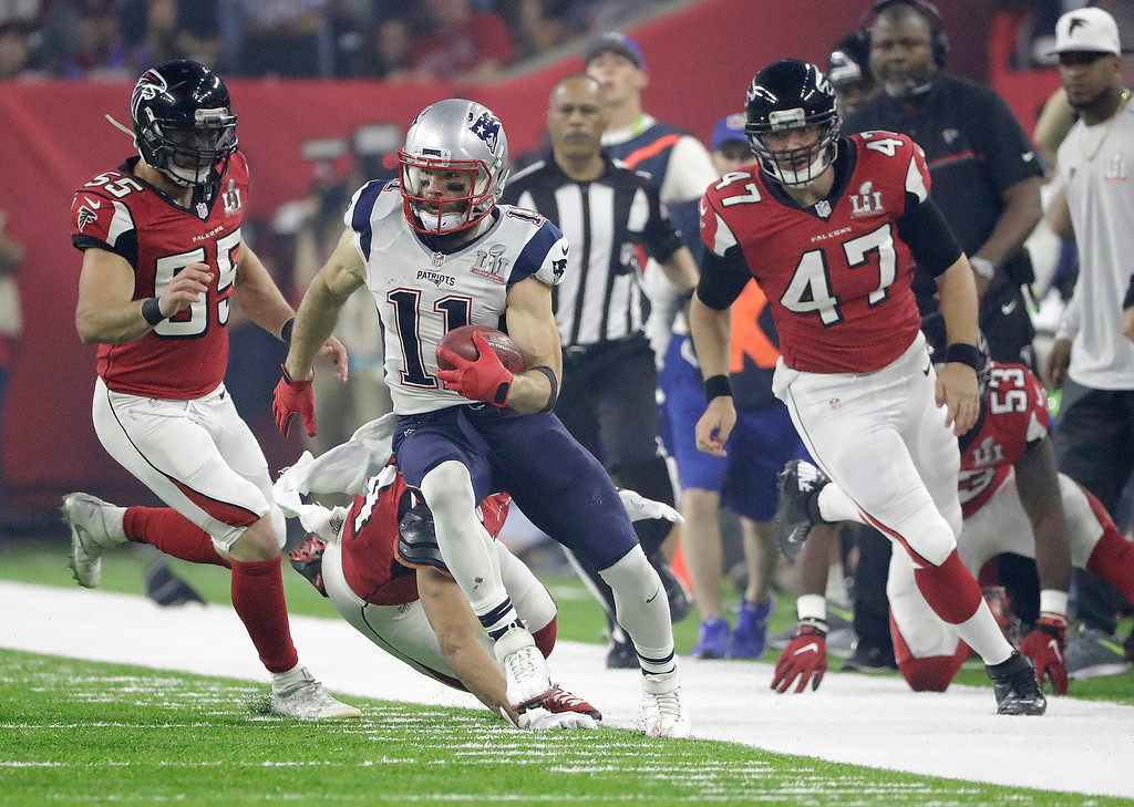 . New England Patriots\' Julian Edelman (11) runs against the Atlanta Falcons during the second half of the NFL Super Bowl 51 football game Sunday, Feb. 5, 2017, in Houston. (AP Photo/Tony Gutierrez)