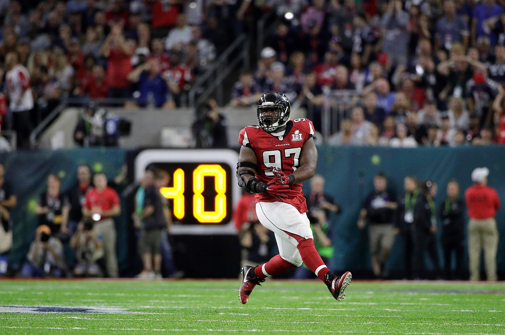 . Atlanta Falcons\' Grady Jarrett reacts during the first half of the NFL Super Bowl 51 football game against the New England Patriots Sunday, Feb. 5, 2017, in Houston. (AP Photo/Jae C. Hong)