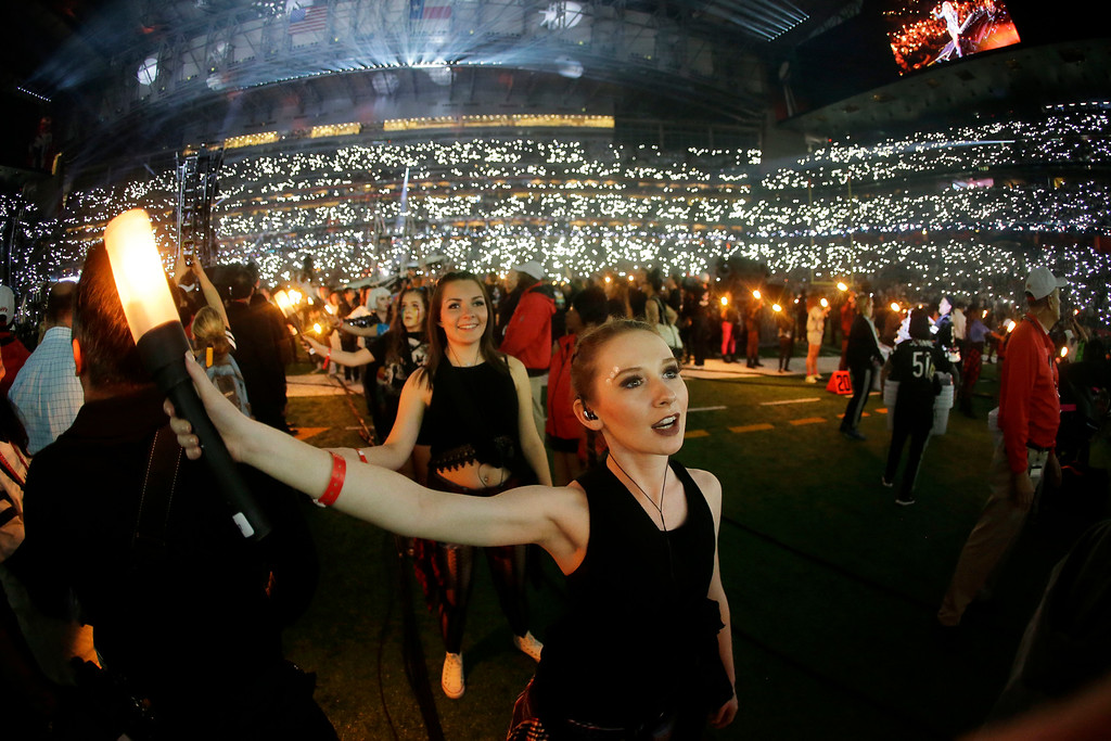 . People watch as Lady Gaga performs during the halftime show of the NFL Super Bowl 51 football game between the Atlanta Falcons and the New England Patriots, Sunday, Feb. 5, 2017, in Houston. (AP Photo/Mark Humphrey)