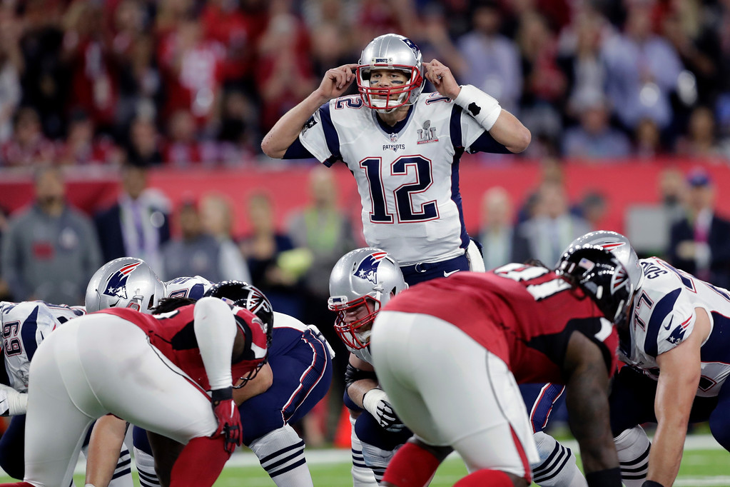 . New England Patriots\' Tom Brady calls an audible at the line of scrimmage during the first half of the NFL Super Bowl 51 football game against the Atlanta Falcons Sunday, Feb. 5, 2017, in Houston. (AP Photo/Darron Cummings)