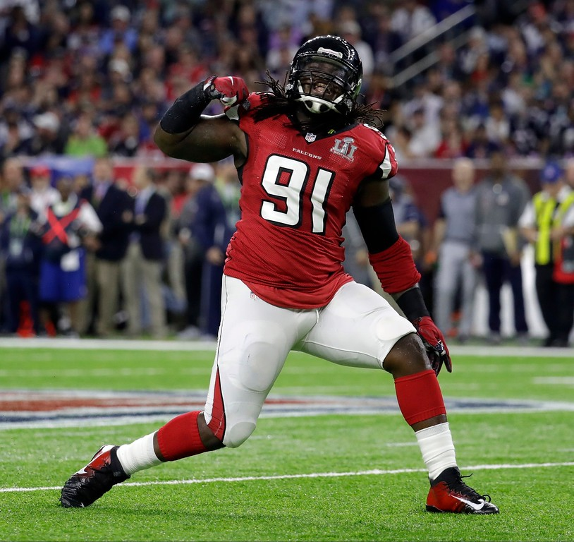 . Atlanta Falcons\' Courtney Upshaw reacts after a quarterback sack during the first half of the NFL Super Bowl 51 football game against the New England Patriots Sunday, Feb. 5, 2017, in Houston. (AP Photo/Eric Gay)