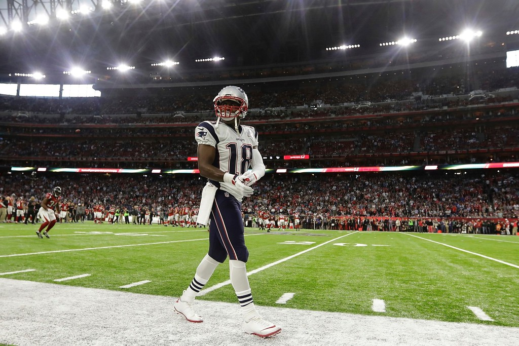 . New England Patriots\' Matthew Slater walks the sidelines, before the NFL Super Bowl 51 football game against the Atlanta Falcons, Sunday, Feb. 5, 2017, in Houston. (AP Photo/Darron Cummings)