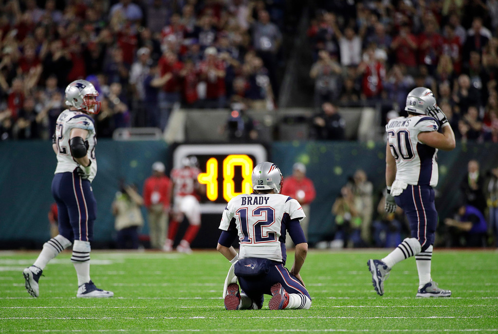 . New England Patriots\' Tom Brady reacts during the first half of the NFL Super Bowl 51 football game against the Atlanta Falcons Sunday, Feb. 5, 2017, in Houston. (AP Photo/Jae C. Hong)