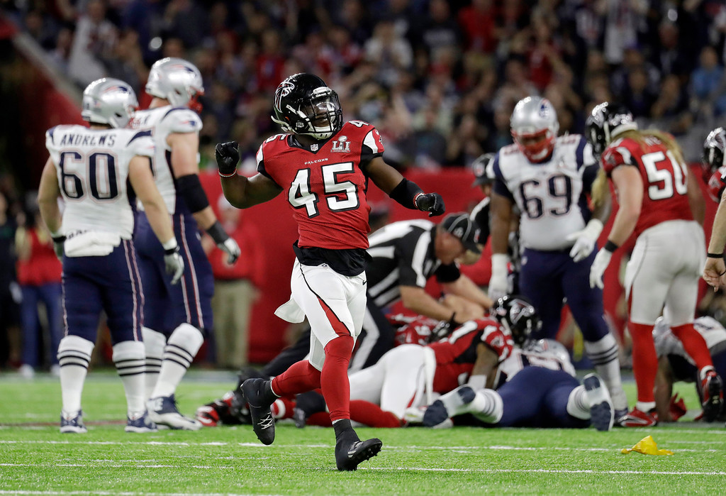 . Atlanta Falcons\' Deion Jones (45) celebrates after Robert Alford recovers a fumble during the first half of the NFL Super Bowl 51 football game against the New England Patriots Sunday, Feb. 5, 2017, in Houston. (AP Photo/Eric Gay)