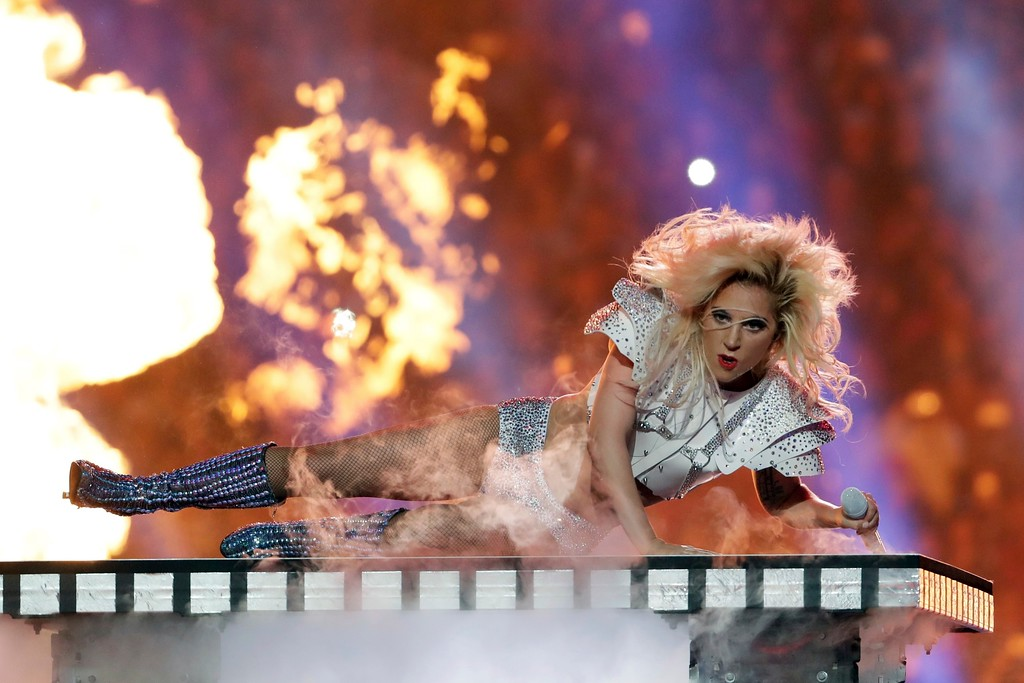 . Singer Lady Gaga performs during the halftime show of the NFL Super Bowl 51 football game between the New England Patriots and the Atlanta Falcons, Sunday, Feb. 5, 2017, in Houston. (AP Photo/Matt Slocum)