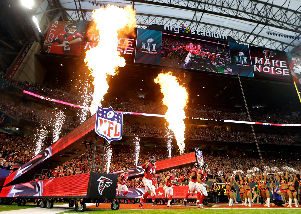 . Atlanta Falcons players take the field before the NFL Super Bowl 51 football game against the New England Patriots Sunday, Feb. 5, 2017, in Houston. (AP Photo/Mark Humphrey)